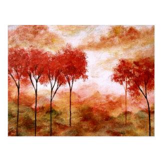 Abstrakte Landschaftskunst-rotes dünnes Baum-Malen Postkarte
