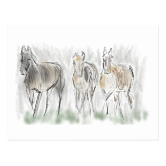 Abstrakte laufende Pferde Postkarte