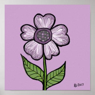 Abstrakte lila Blume DP110 Poster