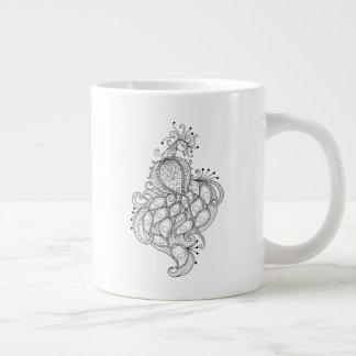 Abstrakte Linien Entwurf des schönen Pfaus Jumbo-Tasse