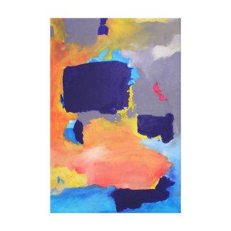Abstrakte Malerei-moderne Farborange dunkelblaues Galerie Falt Leinwand