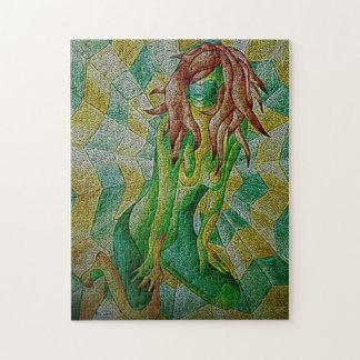 abstrakte mehrfarbige grüne aufwerfendame retro puzzle