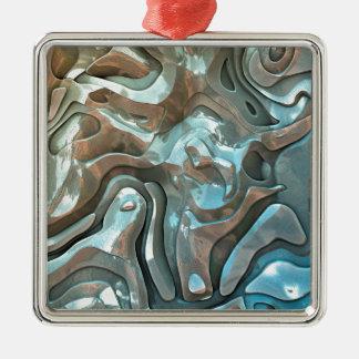 Abstrakte metallische Schichten Quadratisches Silberfarbenes Ornament