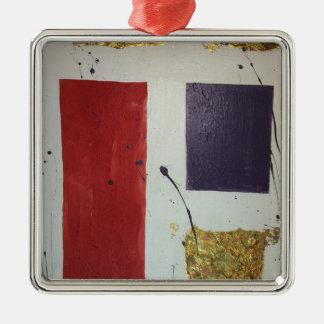 """Abstrakte Mischmedium-ursprüngliche """"Kosmetik """" Quadratisches Silberfarbenes Ornament"""