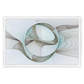 Abstrakte moderne Türkis-Brown-Goldeleganz Acryl Tablett