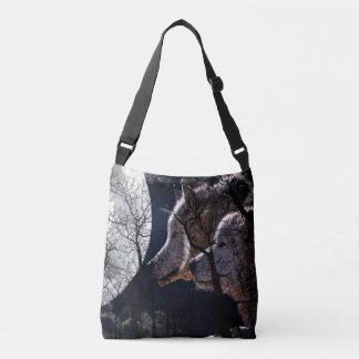 Abstrakte Mondwaldwolfbaum-Taschentasche Tragetaschen Mit Langen Trägern