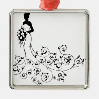 Abstrakte Muster-Hochzeits-Braut-Silhouette Silbernes Ornament
