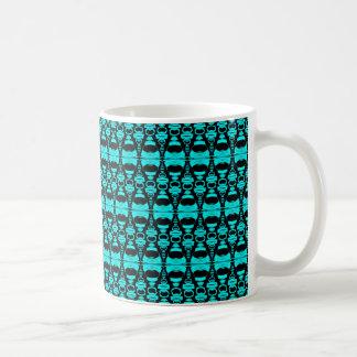 Abstrakte Muster-Teiler 02 im Türkis-Schwarzen Kaffeetasse