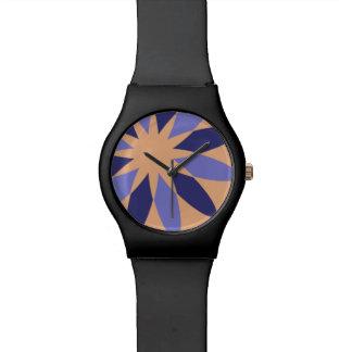 Abstrakte orange und lila Blumen-Uhr Armbanduhr