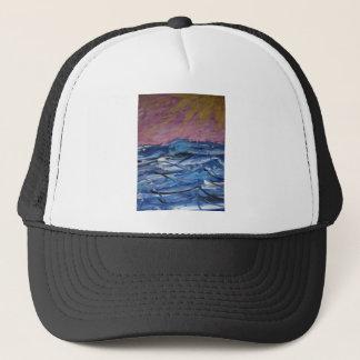 Abstrakte Ozean-Wellen und Einstellung Sun Truckerkappe
