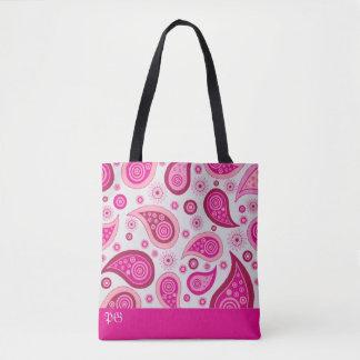 Abstrakte Paisley-Mustermonogrammtasche Tasche