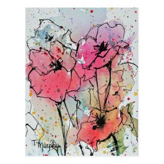 Abstrakte rosa Mohnblumen-Postkarte Postkarte