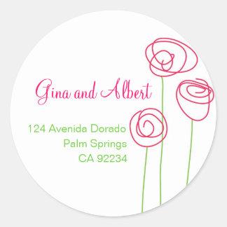 Abstrakte Rosen-Adressen-Etiketten Runder Aufkleber