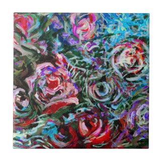 Abstrakte Rosen in Rotem und in Blauem Keramikfliese