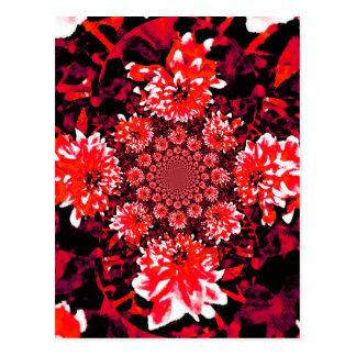 Abstrakte rote Dahlie Postkarte