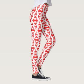 Abstrakte rotes Weiß der Muster-Teiler-03 Leggings