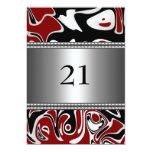 Abstrakte Schwarz-weiße rote silberne Ordnungs-21. Personalisierte Ankündigungskarte