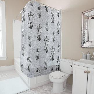 Abstrakte Schwarz-weiße Shine-Blumen auf Silber Duschvorhang