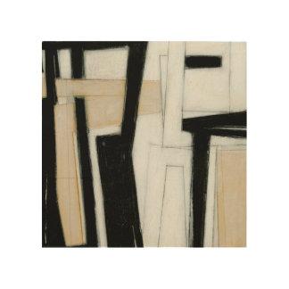 Abstrakte schwarze u. weiße Malerei Holzwanddeko