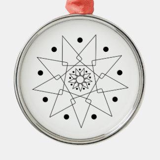 Abstrakte Schwarzweiss-Form Rundes Silberfarbenes Ornament
