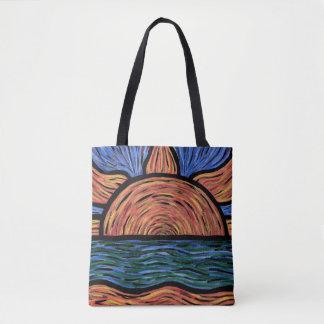 Abstrakte Sommer-Sonnenuntergang-Strand-Wellen Tasche