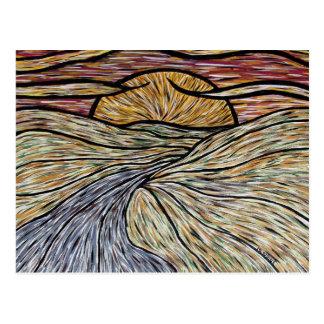 Abstrakte Sonnenuntergang-Kunst-Postkarte Postkarte
