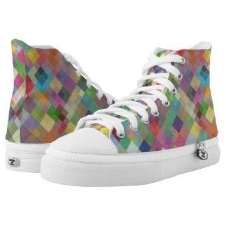Abstrakte Spaß-bunte Quadrat-hohe Spitzenschuhe Hoch-geschnittene Sneaker