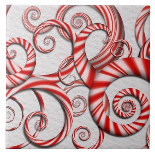 Abstrakte - Spiralen - Pfefferminz-Träume Keramikfliese