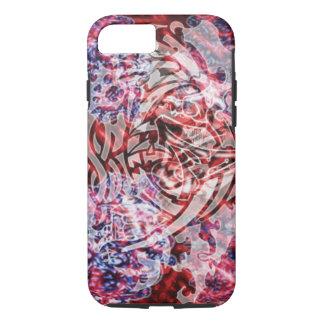 Abstrakte Stammes- Digital-Kunst, -ROT u. -WEISS iPhone 8/7 Hülle