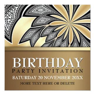 Abstrakte Stammes- goldene Geburtstags-Party Quadratische 13,3 Cm Einladungskarte