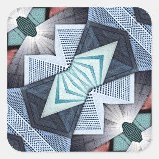 Abstrakte strukturelle Collage Quadratischer Aufkleber
