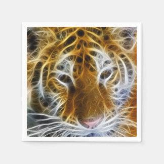 Abstrakte Tigerporträt-Fraktalkunst Papierserviette