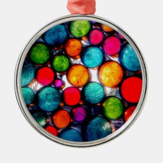 Abstrakte Tröpfchen Rundes Silberfarbenes Ornament