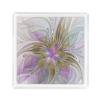Abstrakte und bunte Fraktal-mit Blumenkunst Acryl Tablett