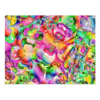 Abstrakte verdrehte FarbBlumen Postkarte