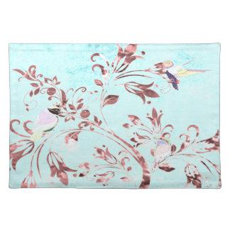 Abstrakte Vögel des Trendy Tischsetaqua-Rosas Tischset