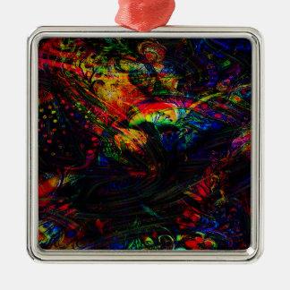 Abstrakte Vögel und Schmetterlinge Silbernes Ornament