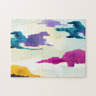Abstrakte Wasserfarbe-Landschaftspuzzle Puzzle