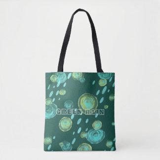 abstrakte Wasserfarbe-Tasche des grünen Regens Tasche