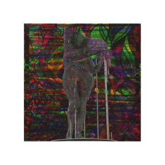Abstrakte Wassermann-Göttin Holzwanddeko