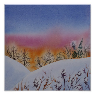 Abstrakte Watercolorwinterlandschaft Poster