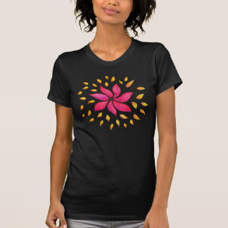 Abstrakte wunderliche Watercolor-Rosa-Blume T-Shirt