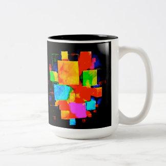 Abstrakte Würfel - geändertes gelegentliches Zweifarbige Tasse