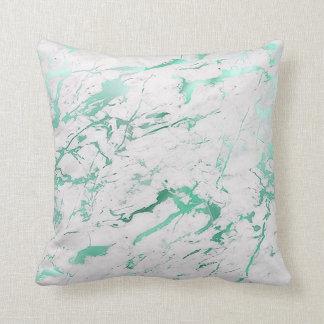 Abstrakter aquamariner weißer grüner kissen