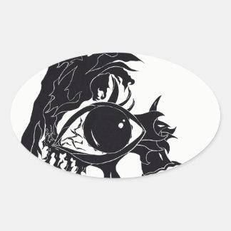 Abstrakter Augen-Entwurf (Aufkleber) Ovaler Aufkleber