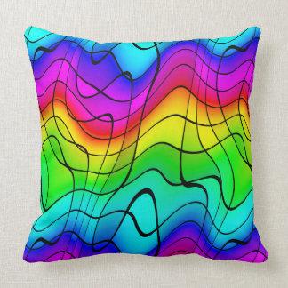 Abstrakter Ausdruck Regenbogen färbt einzigartiges Kissen