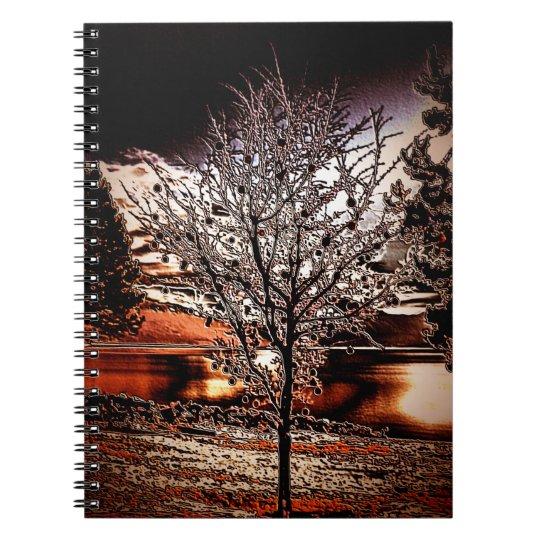 Abstrakter Baum am See Spiral Notizblock