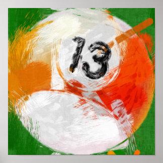 Abstrakter Billard-Ball der Kunst-Zahl-13 Poster