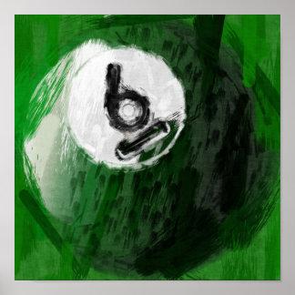 Abstrakter Billard-Ball der Kunst-Zahl-6 Poster