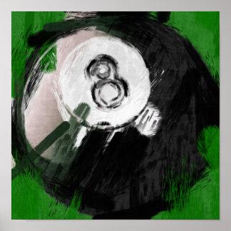 Abstrakter Billard-Ball der Kunst-Zahl-8 Poster